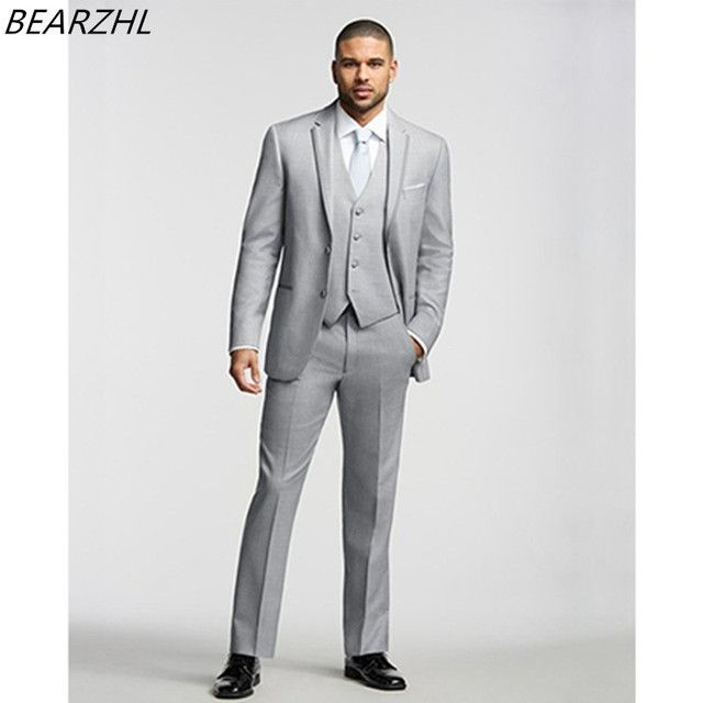 2017 mens new blazer for wedding tuxedo light gray men suit 3 piece custom made suits formal wear