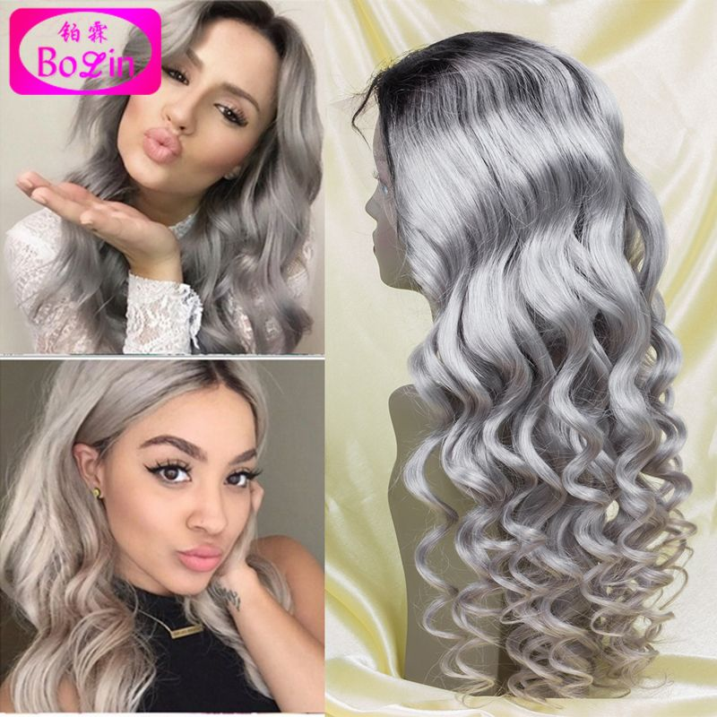Brazilian ombre grey full lace human hair wigs wavy silver gray glueless front lace wigs gray human hair wigs grey full lace wig