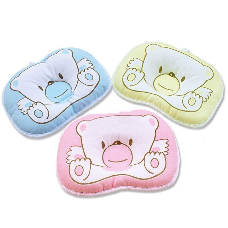 UNIKIDS Hot selling Infant bedding print bear oval shape 100% cotton Baby Bear pillow high quality