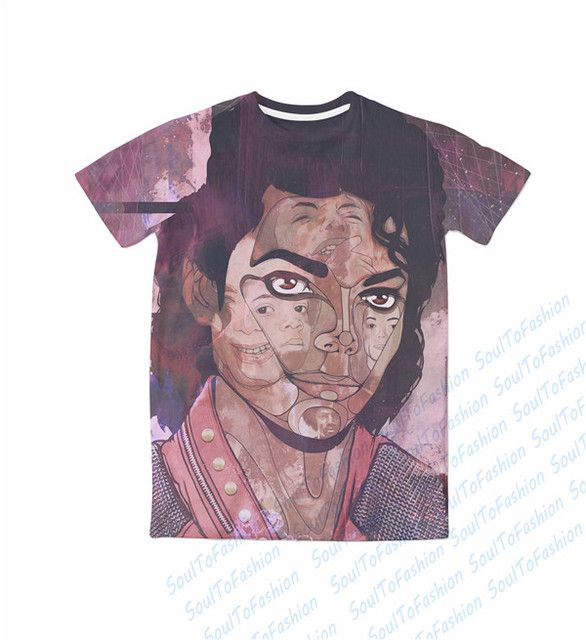 Real USA size Custom made 3D Sublimation print Michael Jackson T-shirt plus size