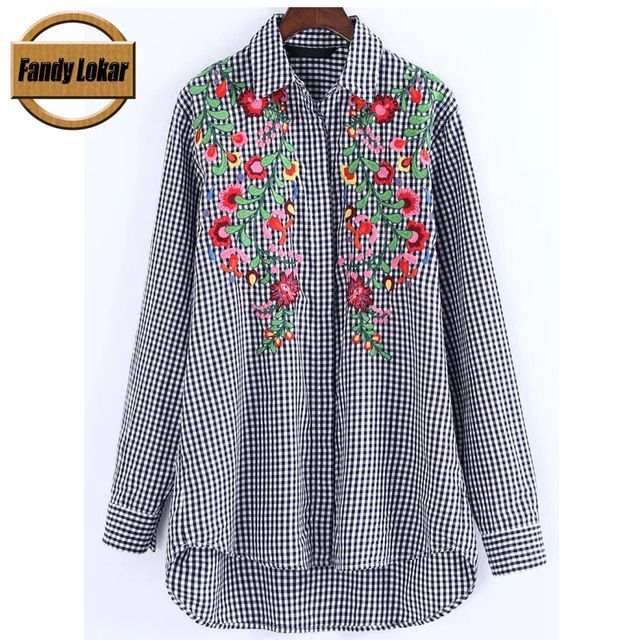 Fandy Lokar Black Gingham Women Shirts 2017 Spring Summer Fashion Embroidered Long Shirt Vintage Long Sleeve Female Blouse Top