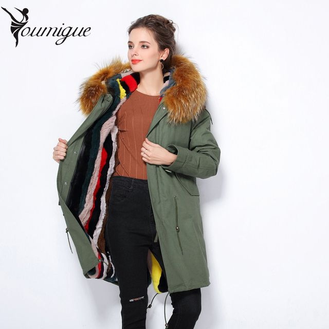 YOUMIGUE winter jacket coat women natural Large raccoon fur collar hooded denim women parkas outwear detachable rabbit lining