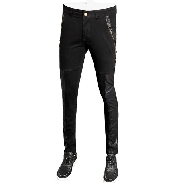 Hot sale autumn fashion casual motorcycle men leather pants straight denim trousers pantalon homme 28-36 CYG99