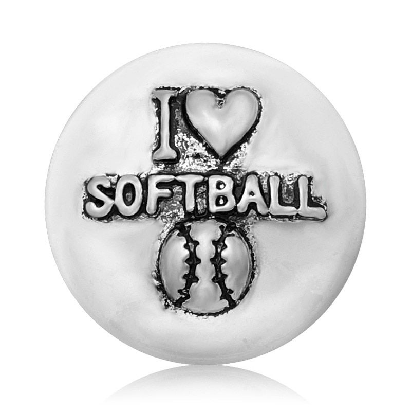 "Hot KZ1086 Charm ""I love Softball"" 18mm snap buttons fit DIY DIY snap bracelet necklace jewelry wholesale trendy"