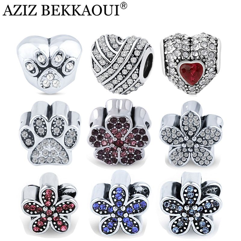 Full Crystal Heart Flower Beads fit DIY Bracelet Luxury Clear CZ Crystal Red Flower Charms Cute Dog Paw Crystal Diy Charms