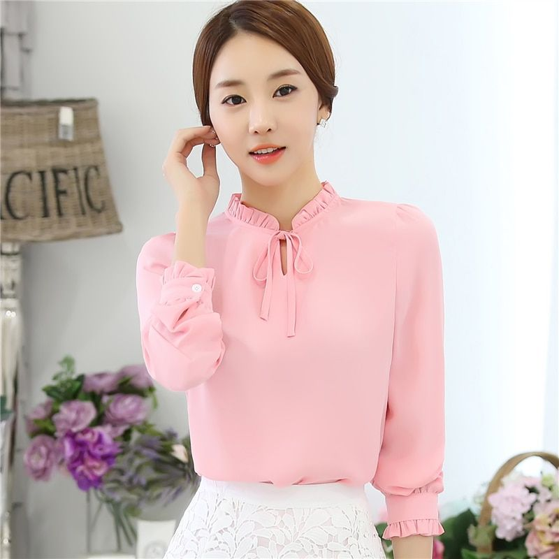 New 2019  Fashion Korean Style Women Blouses Long Sleeve Bow Tie Solid Shirts Lady Chiffon Shirts Plus Size Blouses Tops 880I 25