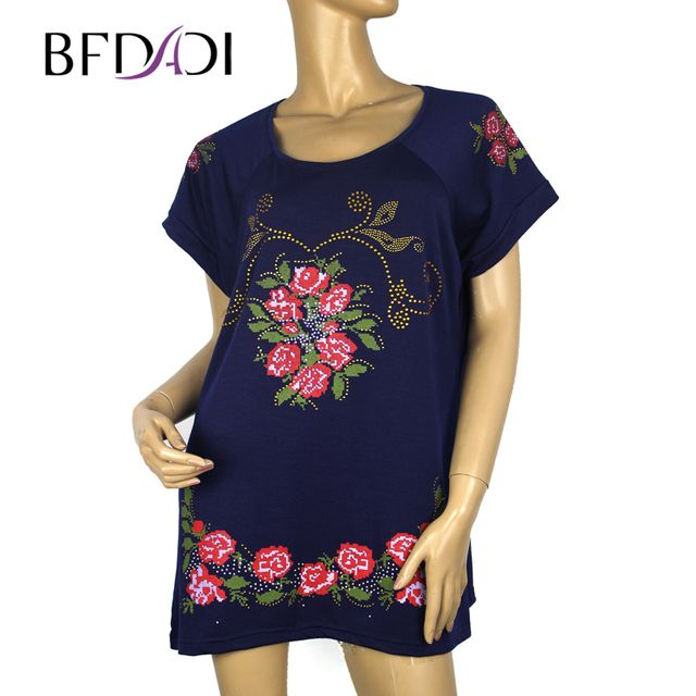 BFDADI 2017 FLOWER Printed Women Loose T-shirt Fashion Tops Large Size 2XL-4XL Long Style Lady Casual Tees Free Shipping 1602