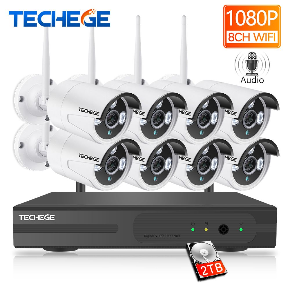 Techege 8CH 1080P NVR Audio Surveillance Kit Plug and Play 8pcs 2MP HD Wireless Waterproof Night Vision Security CCTV System