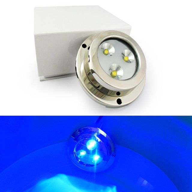 Made of high power led chips+Stainless Steel SS316 IP68 waterproof underwater led marine boat yacht lighting lamp 9W blue