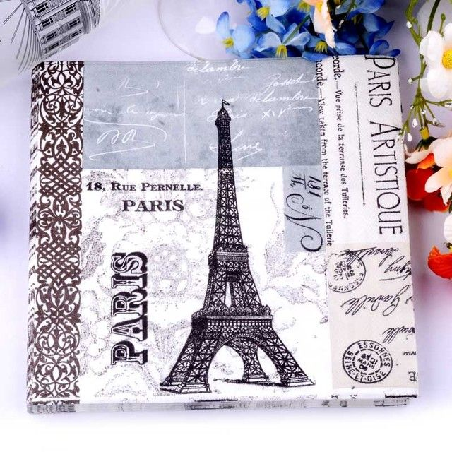 HAOCHU 20pcs Paris Effiel Tower Tissue Paper Romantic Wedding Decorations Party Banquet Serviettes Restaurant Drinks Napkins