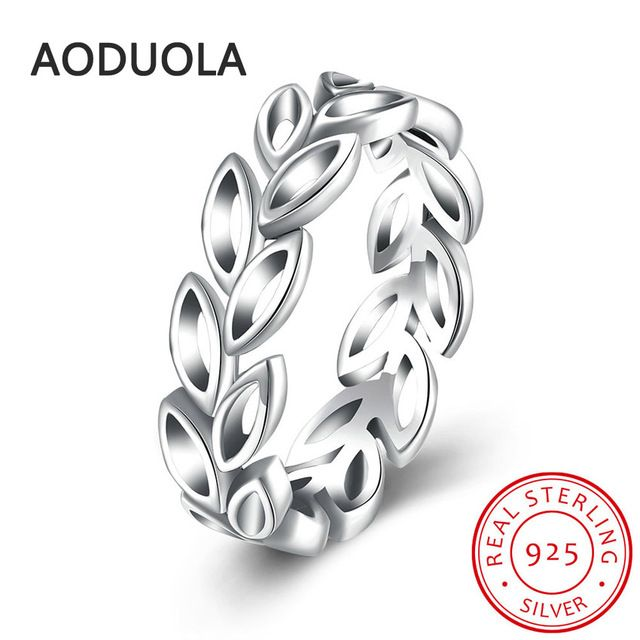 925 Sterling Silver Ring Laurel Wreath Women's Rings for Ladies and Girls Finger Lover wedding Gift