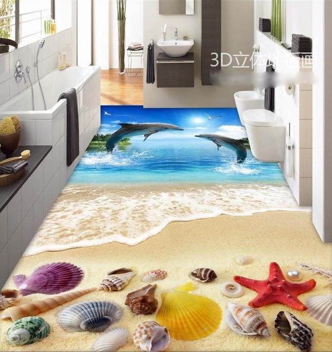 3 d pvc flooring custom wall sticker 3d dolphins shells on the beach 3 d bathroom flooring painting photo wallpaper for walls 3d