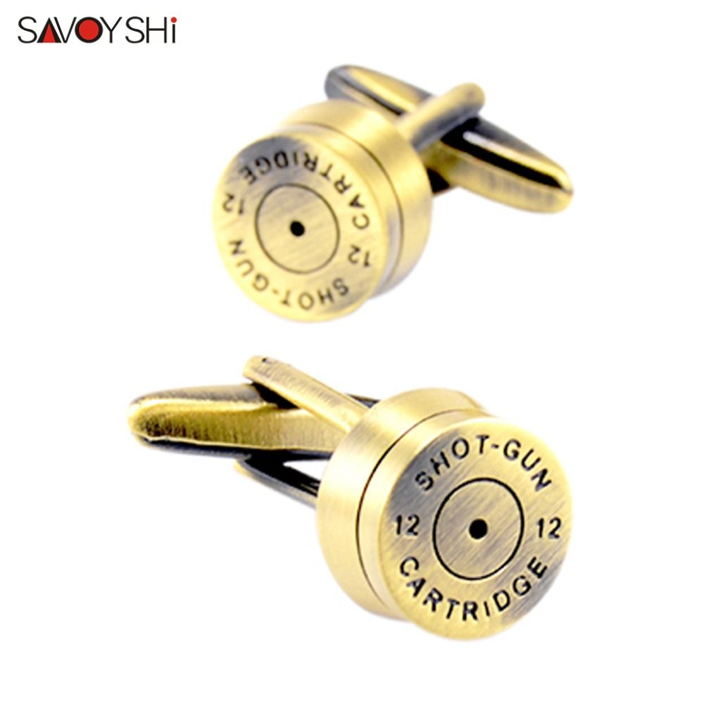 SAVOYSHI High Quality Shirt Cufflinks for Mens Gift Cuff bottons Novelty Round Bronze Bullet Cuff links Fashion Brand Jewelry