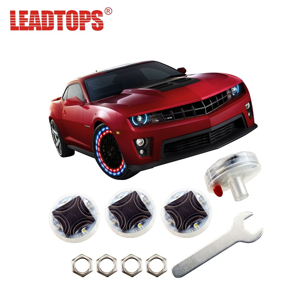 LEADTOPS 4pcs/lot Stunning Waterproof Solar Car Tuning Gas Nozzle Cap Lamps Rim Light Wind Fire Wheels Auto Led Flash Tyre AE