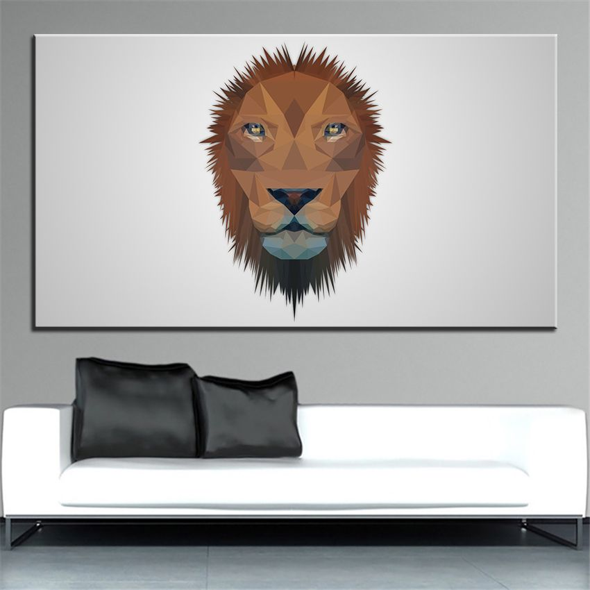 Large size Printing Oil Painting low poly lion Wall painting Decor Wall Art Picture For Living Room painting No Frame
