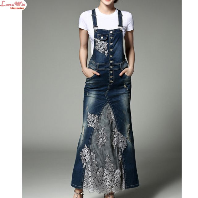 Popular Sequined Embroidered Mesh Denim Slip Dresses Stylish Long Denim Lace Dress Summer Casual Suits with Pure White T-shirt