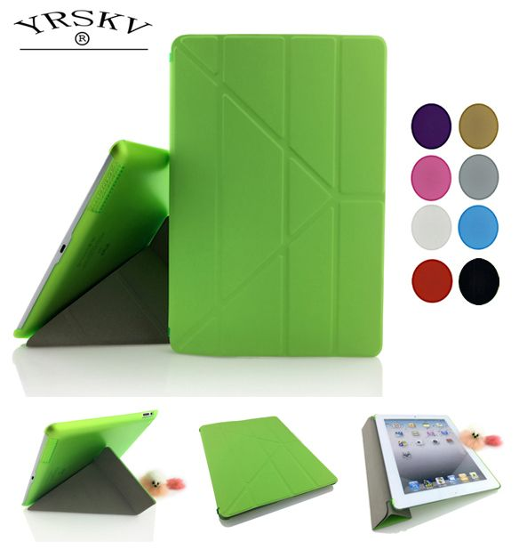 Hot Case for iPad 2 iPad 3 iPad 4 Deformation folding PU Leather Slim Magnetic Front Smart Cover Skin+Hard PC Back Tablet Case