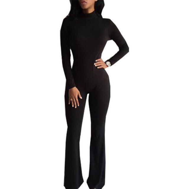 Rompers women's jumpsuit Long-sleeved tight bodysuit nightclub piece pants high collar playsuits clothing vestidos LBD0896