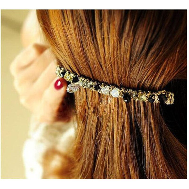 Latest Female Lady Girl Korean Hair bands Grips Headbands Crystal Rhinestone Barrette Hairpin Hair Clip Accessories For Woman