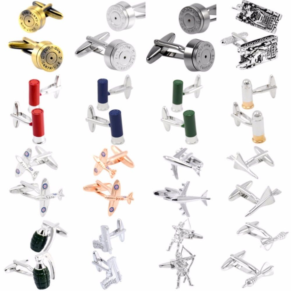 Hot sale 18 Styles Bullet Aircraft Tank Pistol Model Cufflinks for Mens Shirt Cuff botton High Quality Copper Fashion Cufflinks