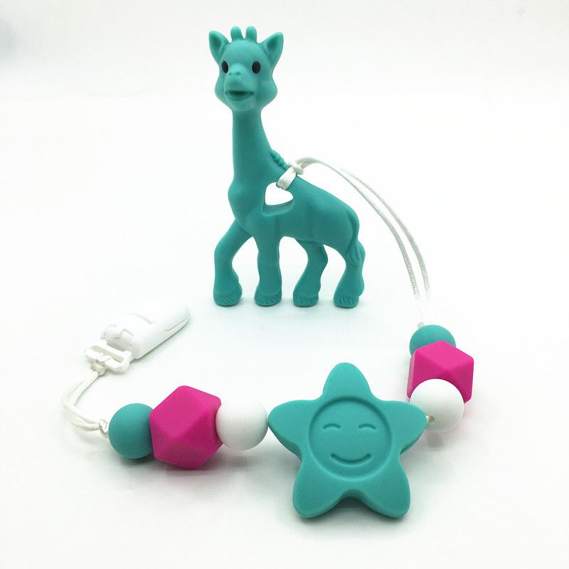 bpa Silicone baby Teething pendant clips silicone Teething Pacifier Clip with large giraffe pendant heart chew beads wholesale