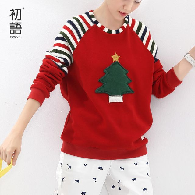 Toyouth Autumn Winter Women Sweatshirt Christmas Tree Appliques Loose Striped Pattern Hoodies Long Sleeve Female Tops
