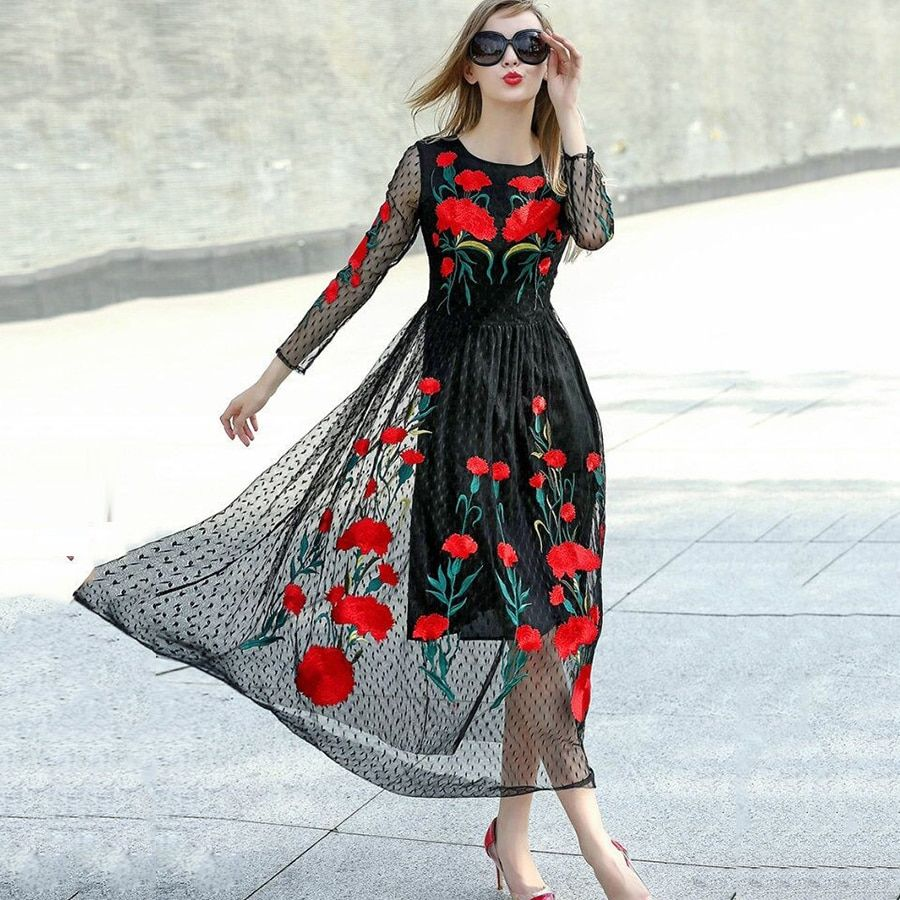Casual Dresses 2018 Spring Summer Bohemian New Fashion Vintage Long Sleeve Sexy Mesh Carnation Embroidery Slim Black Long Dress