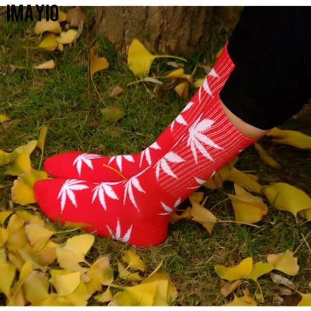 Imayio Women Socks Unisex Brand new Maple Leaf Print socks Novelty Casual  Xmas winter Autumn cotton socks Gifts