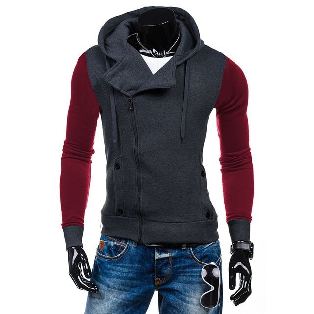 Brand New Fashion Mens Hooded Sweatshirts Autumn Patchwork Long Sleeve Zipper Jackets Coat Casual Slim Fit Tracksuits Outwear
