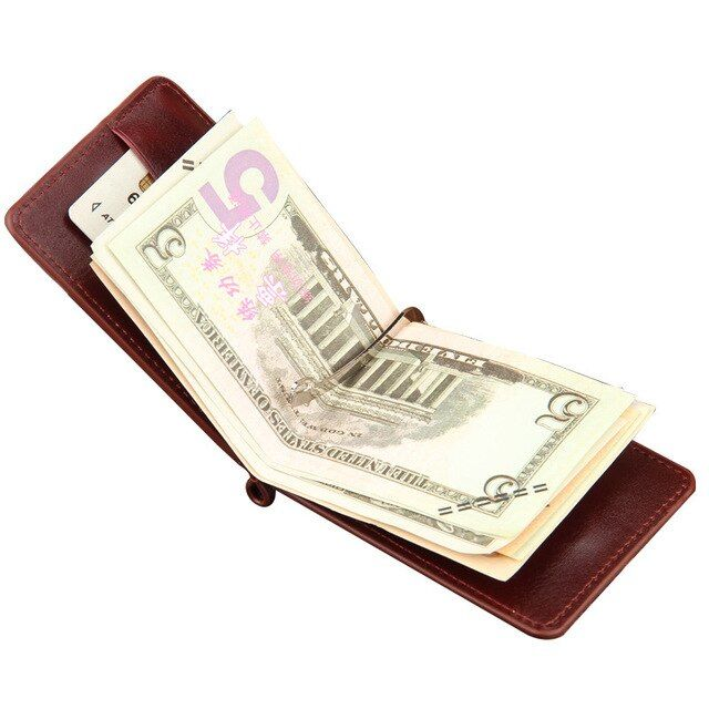 2017 Hot Sale Fashion New Men Money Clips Black Brown PU Leather 2 folded Open Clamp For Money With Zipper Pocket Free Shipping