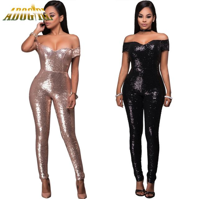Adogirl 2017 Women Rose Gold Black Solid Off The Shoulder Sequin Patchwork Jumpsuit Sexy Party Night Club Romper Femme Jumpsuits