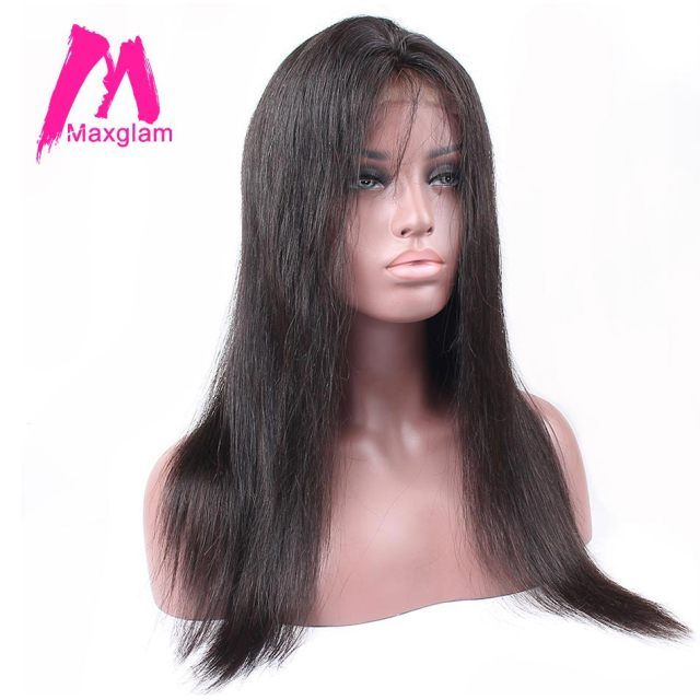 Maxglam Pre Plucked Lace Front Human Hair Wigs With Baby Hair Wigs For Afro American Brazilian Straight Remy Hair Free Shipping
