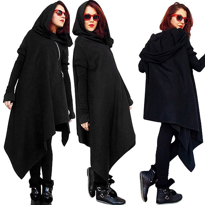 Women Hooded Tunic Dress  New Fashion Winter Casual Female Irregular Black Loose Long Sleeve Warm Pullovers Dress XL KF5316