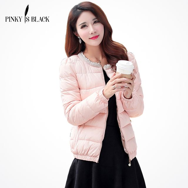 Pinky Is Black 2017 winter women jacket short winter thickening cotton-padded clothing parkas winter coat  Pearl Plus size