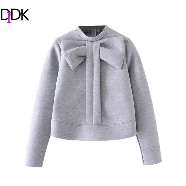 DIDK Grey Bow Embellished Crew Neck Sweatshirt Autumn Winter Cute Pullovers For Women Long Sleeve Zipper Back Sweatshirt
