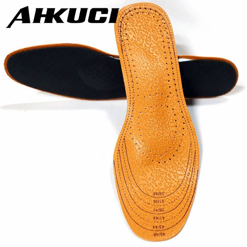 AHKUCI Real Leather Shoes Pad Arch Support Full Cushion Activated Carbon Sweat Shock Absorbent Insoles Orthotic Care