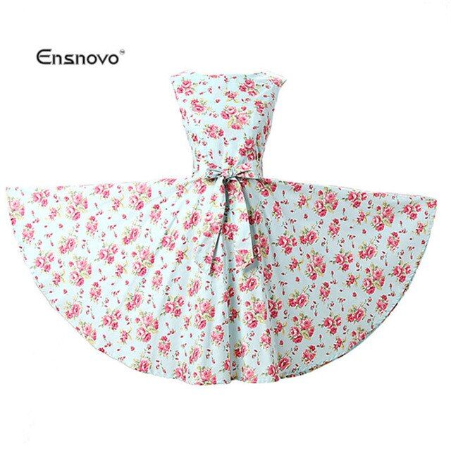 Ensnovo Women 50s Dress Vintage 2016 New Style Mujer Rockabilly Swing Cotton Dresses With Sash Belt