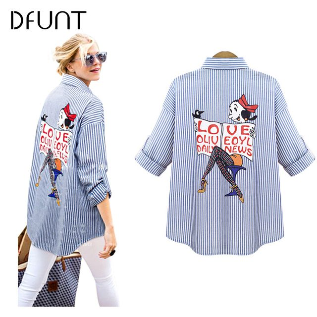 DFUNT Brand Winter Women Shirts One Pocket Turn-down Collar Full Sleeves Casual Tops Pictures Printed Womens Blouses Plus Size