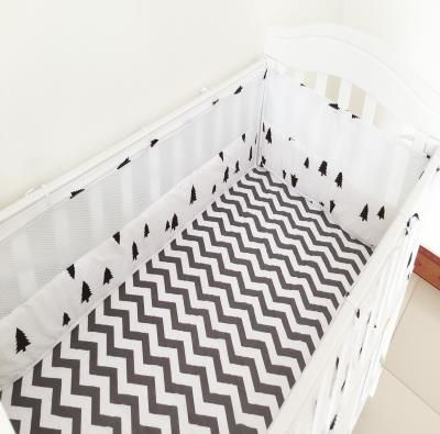 4 Pcs Crib Bumpers Beautiful Mesh Cot Bumper Cotton Prints Breathable Semi-Breathable Baby Bed Mesh Cot Bumper Baby Bedding