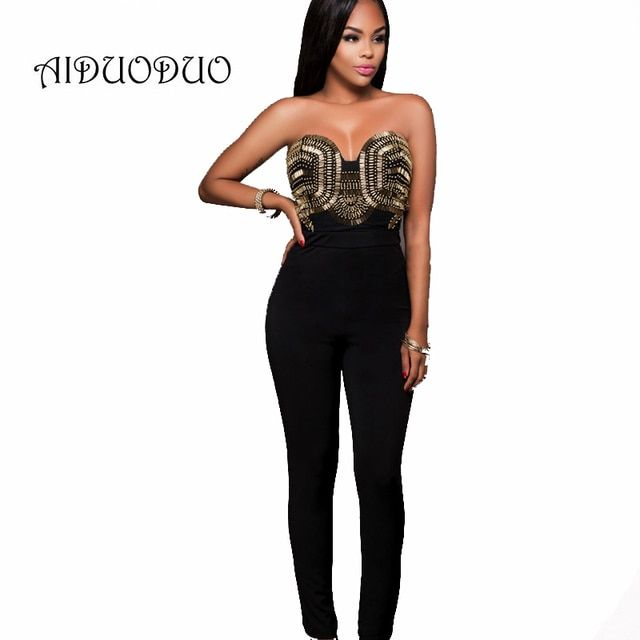 New Fashion Black Bodycon Jumpsuit Women Sexy Bodysuits Rompers Sexy Sleeveless One Piece Long Pants Overalls Playsuit For Women