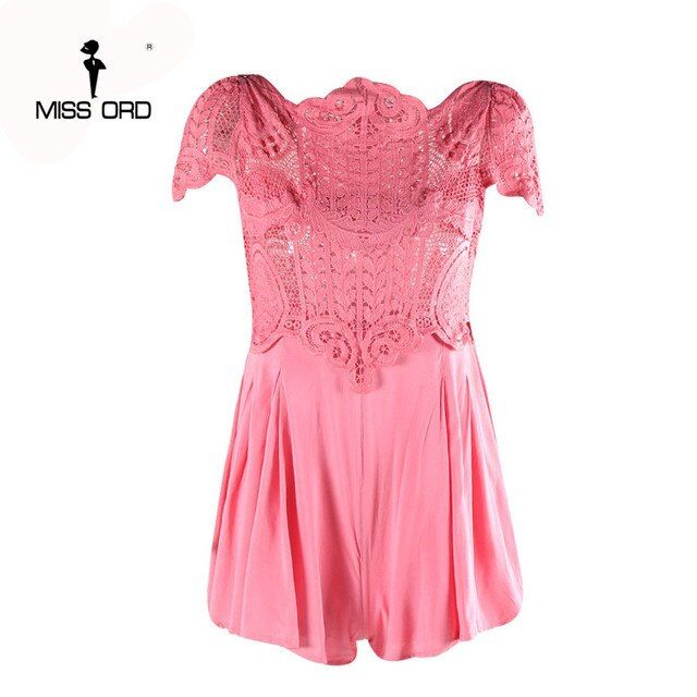 Free Shipping Missord 2018 Sexy O-neck short sleeve Lace stitching playsuit FT3735-1