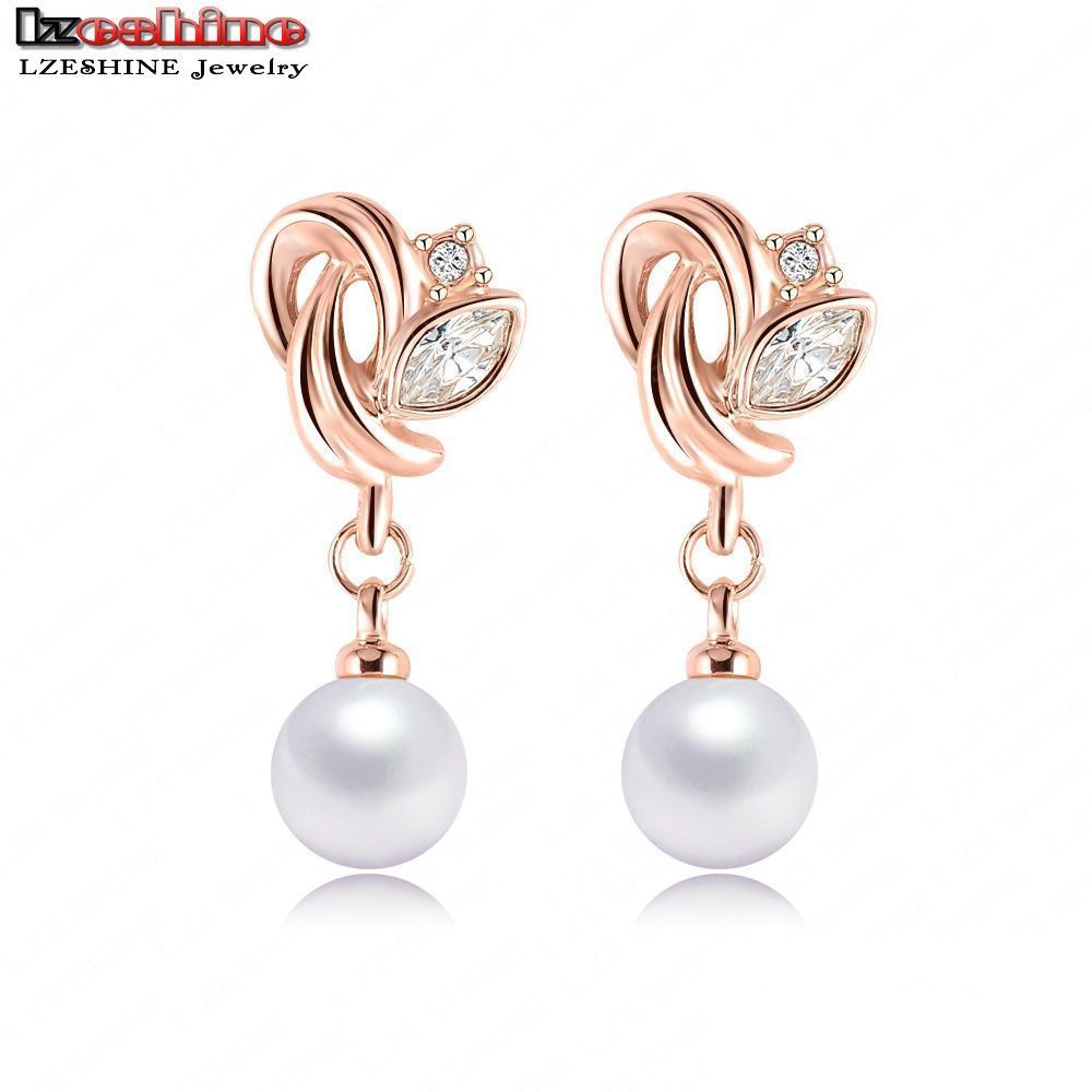 LZESHINE 2016 Fashion Jewelry Pearl Earrings Rose Gold Color SWA Element Austrian Crystals Flower Earrings For Women ER0193-A