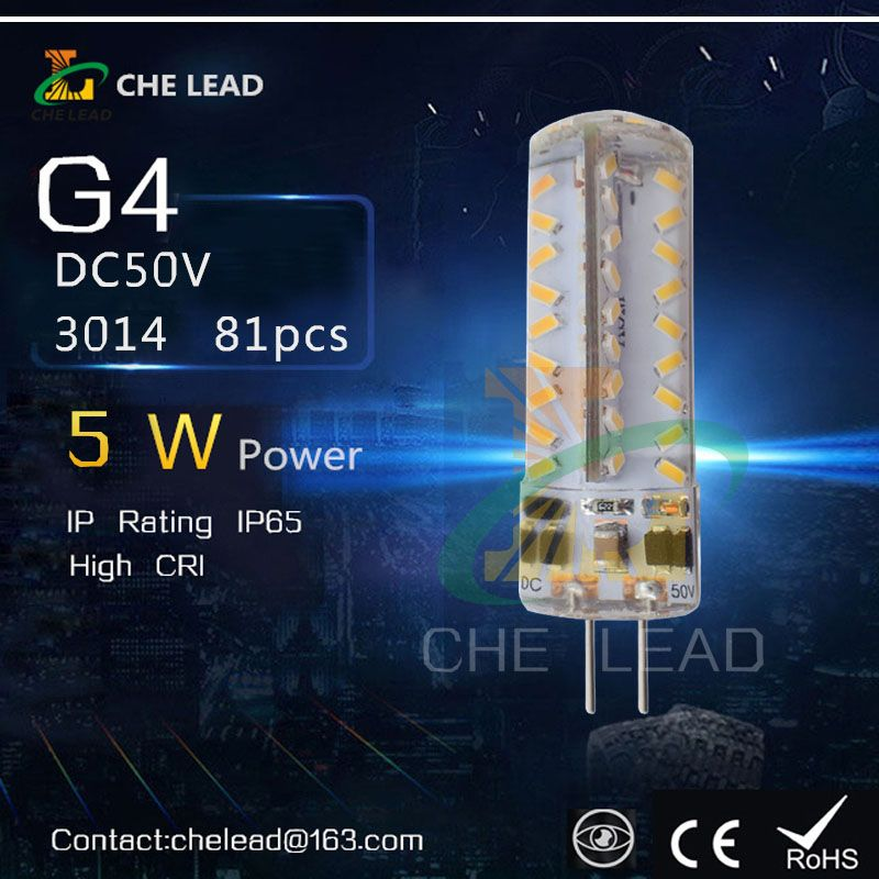 81 SMD LED G4 Silicone Corn Light  white/warm white 3014 LED 5W instrument light Wedge AC12V Car Lamp Light Bulb