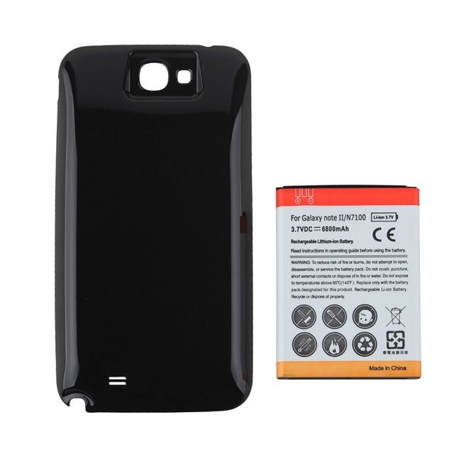 Guarantee 100% Replacement 1pc Extended 6500mAh Battery + Back Cover For Samsung Galaxy Note II 2 N7100, Free Shipping