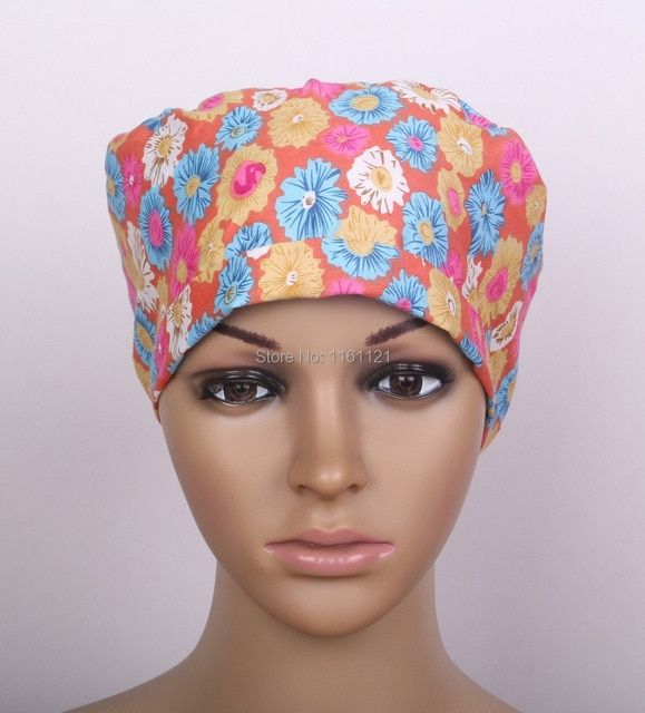 Jalecos free Shipping From Seller Long Hair Surgical Cap Doctors And Nurses 100% Cotton Ground with Sever Color Flower Printing