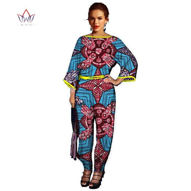 Women Summer Styl Women Jumpsuit Long Pants Traditional African Clothing Three-Quarter Sleeve Casual Women Clothing WY068