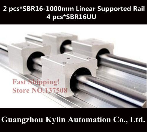 Best Price! 2 pcs SBR16 1000mm linear bearing supported rails+4 pcs SBR16UU bearing blocks,sbr16 length 1000mm for CNC parts
