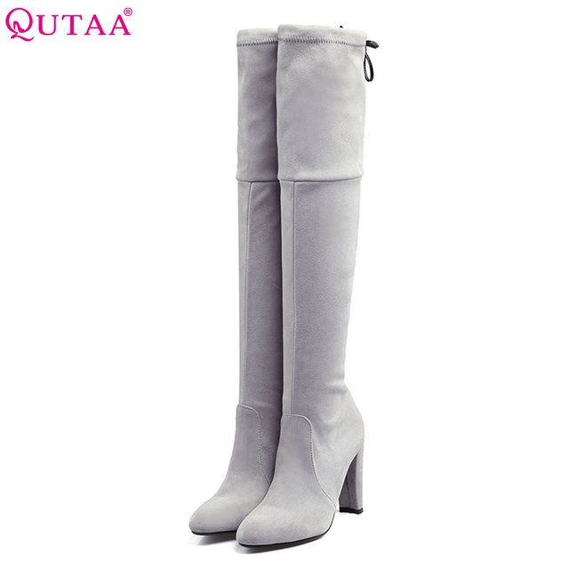 QUTAA 2018 Black Round Toe Lace Up Over The Knee Boots Scrub Square High Heel Women Shoes Winter Snow Boots size 34-43