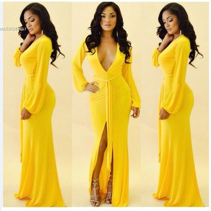 New Women Spring Dress Long Sleeve Deep V neck Sexy Club Bandage Dress Open Front Slit Casual Maxi Long Dress 35