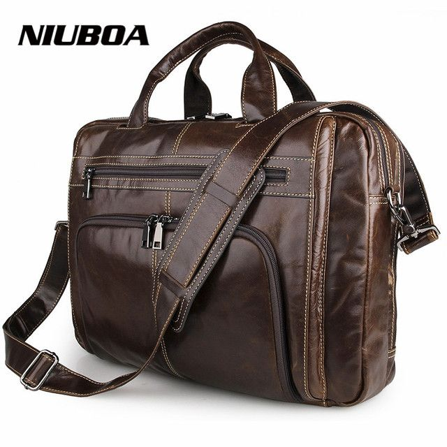 "Guaranteed Genuine Leather Bag Men's Briefcase Men Cowhide Messenger Bags Natural Cowskin 16"" laptop Handbag Male Briefcase"